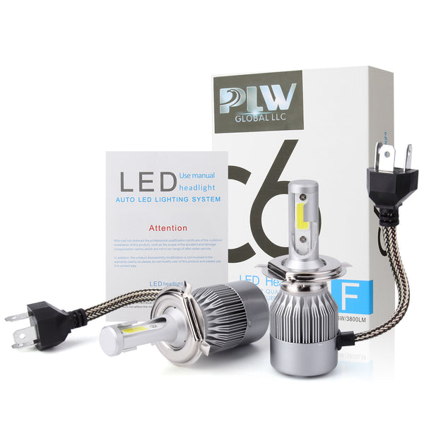 PLW 6C Auto LED Headlight Lighting System, H4 6000K IP68 Spec 13,000 RPM Turbo Cooling Fan and High Efficiency Heat Control
