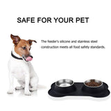 Paw Essentials Stainless Steel Dog/Cat Bowls with No Spill Non-Skid Silicone Mat (Bone Shape)