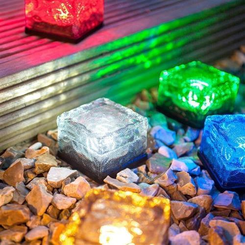 Solar Color Changing Ice Rocks LED Solar Garden Path Lights (4-PACK)