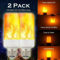 2 Pack LED Flame Effect Simulated Flicker Nature Fire Bulbs Light Decor E27 Lamp- BRAND NEW