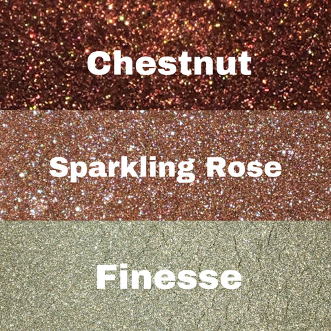 High shine foil pigment Trio bundle - Chestnut, Sparkling Rose & Finesse