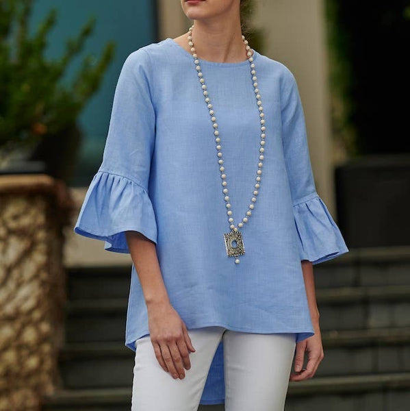 Linen top with bell sleeves