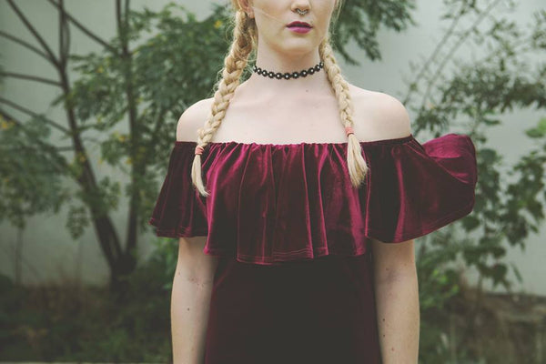 Maroon Off The Shoulder Dress