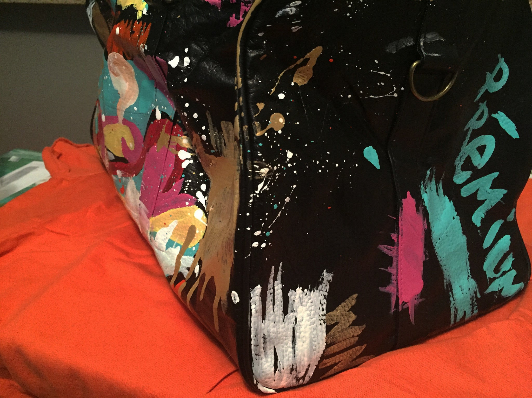 """MasterPiece"" Genuine Leather Handpainted Duffle"