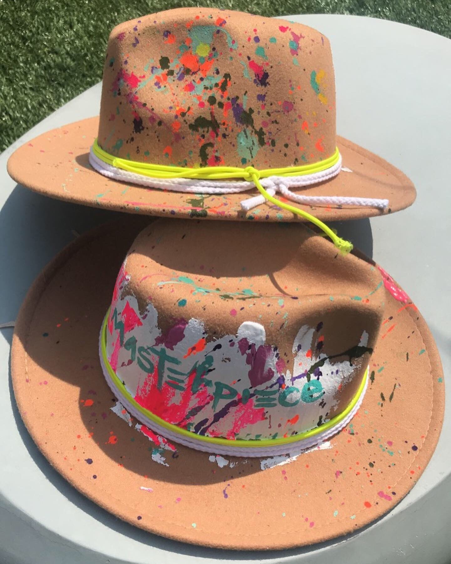"""Masterpiece"" TAN Handpainted Fedora"