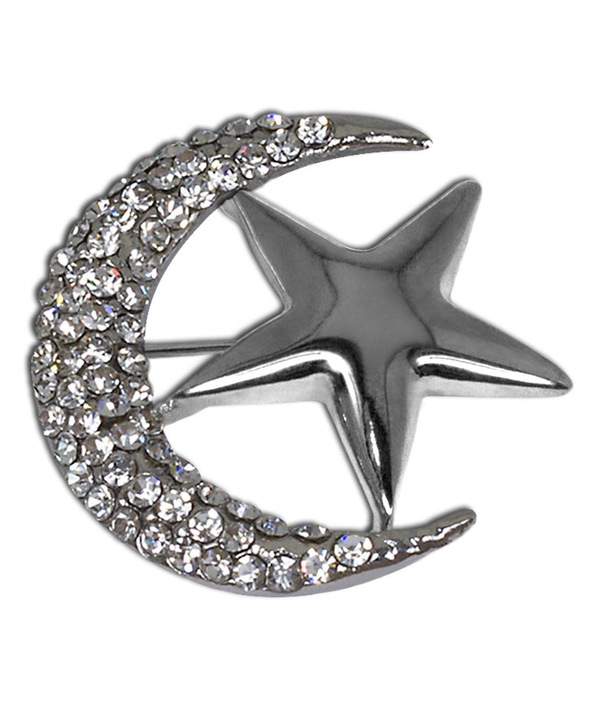 Wholesale Two Dozen Hijab Pin Moon & Star Brooch in Silver