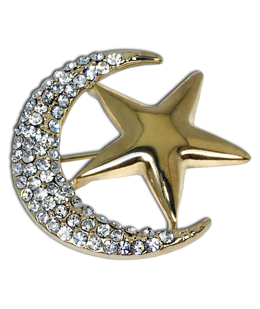 One Dozen Hijab Pin Moon & Star Brooch in Gold
