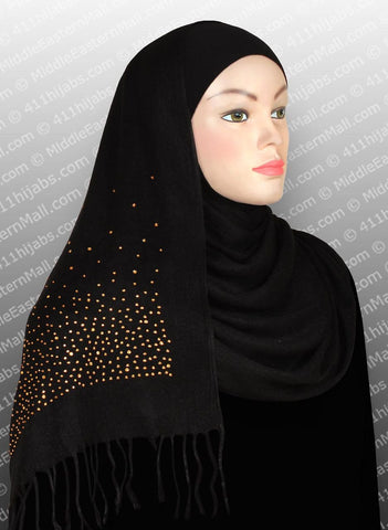 WHOLESALE VISCOSE SHAWL WITH RHINESTONES ONE DOZEN