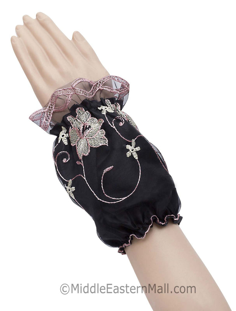 Wholesale one dozen  of Arm Cuffs with Floral Embroidery in 6 Colors