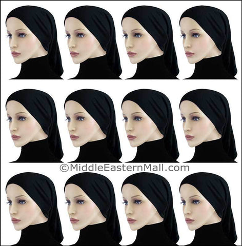 Wholesale 2 Dozen Highest Quality Extra Long Khatib Cotton All Black Hijab Tube Caps