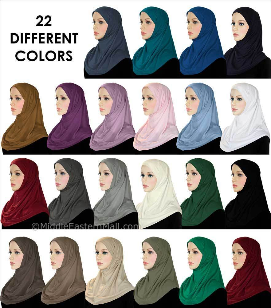 Wholesale 2 Dozen Classic COTTON 2 piece Amira Hijabs 24 colors one of each