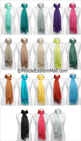 Wholesale 2 Dozen Large Cotton Silk Shawls in 10 different assorted Colors