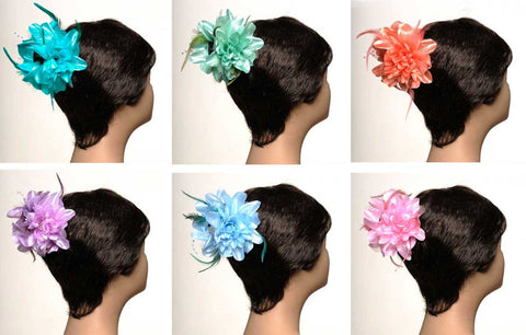 Wholesale Set of 15 Flower & Feather Hair Claw Volumizer in 5 different colors