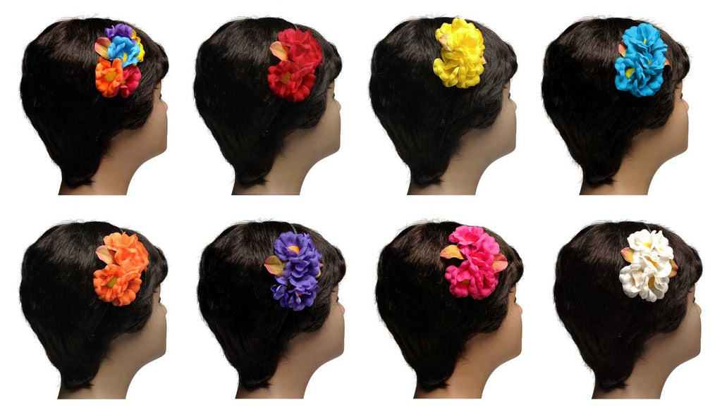 Wholesale Set of 15 Floral Hair Bands in 5 Different Colors