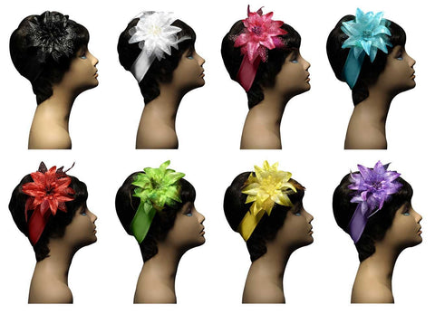 Wholesale Set of 15 Flowers & Feathers Hairbands in 5 assorted colors