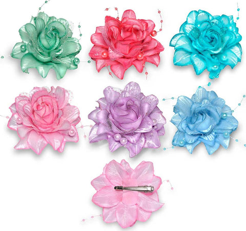 Wholesale Set of 15 Frosted Rose Clip in 5 different Colors