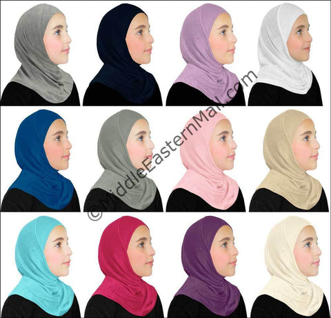 Wholesale 2 Dozen Khatib  Cotton Girl's 1 piece Hijabs Standard in 12 colors, 2 of each color
