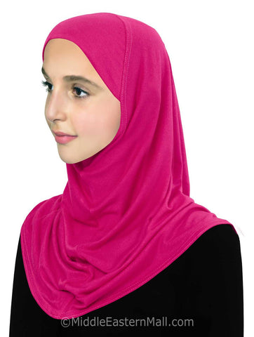 Wholesale Set of 16 Girl's Pre-Teen Khatib Cotton 1 piece Hijab in 8 Colors