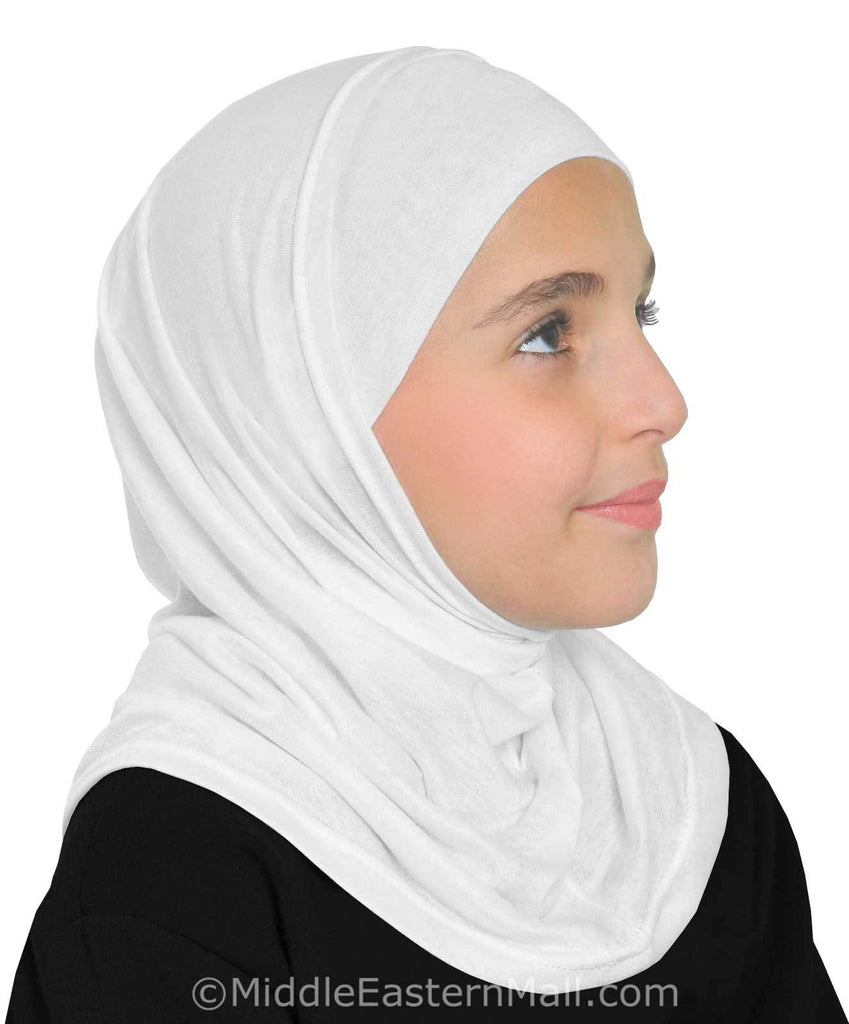 Wholesale 2 Dozen Girl's Khatib Cotton Hijabs 2 piece  ALL WHITE