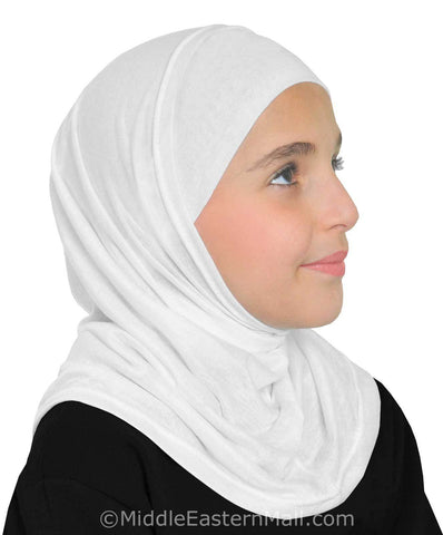 Wholesale 3 Dozen Girl's Khatib Cotton Hijabs 2 piece  ALL WHITE
