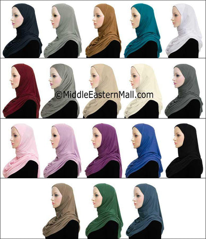 Wholesale 3 Dozen Khatib COTTON 1 Piece Amira Hijabs STANDARD LENGTH in 18 Colors 2 of each color