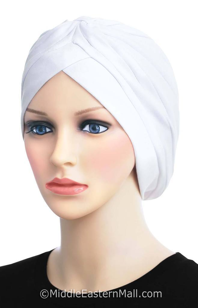 Wholesale 2 dozen cotton classic turbans all white