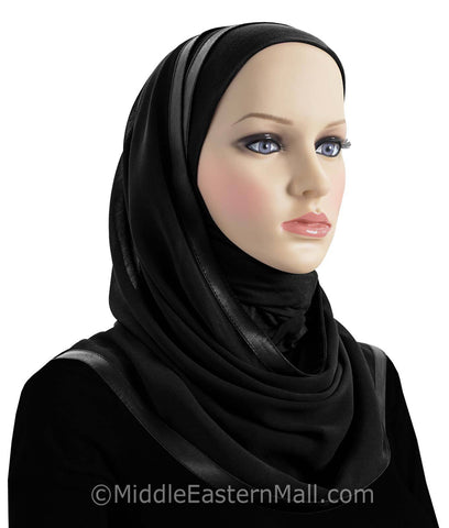 Wholesale 2 Dozen of Khatib Kuwaiti Mona Hijabs Black & White