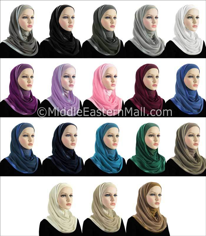 Wholesale set of 18  Khatib Kuwaiti Mona Hijabs in 18 different colors 1 of each Color