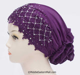 Wholesale one DOZEN Lace Snood Hijab Caps - 6 Colors per Dozen 2 per each color