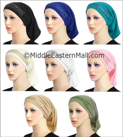 Wholesale set of 16 LYCRA Extra Long Tube Hijab Cap in 8 Colors6 Luxor