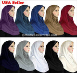 Wholesale Set of 20 Ruched Cascade Hijabs 1 piece Lycra Amira with RHINESTONES