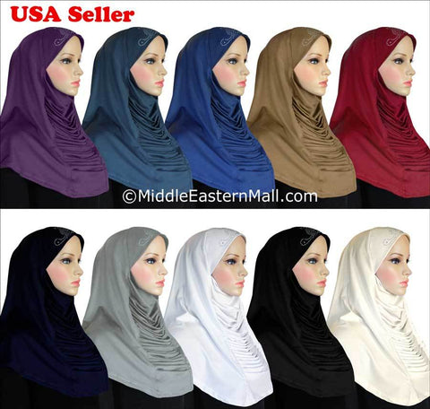 Wholesale Set of 30 Ruched Cascade Hijabs 1 piece Lycra Amira with RHINESTONES
