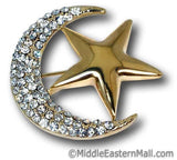 Wholesale 2 Dozen Hijab Pin Moon & Star Brooch in Silver & Gold