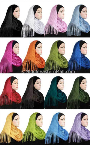 Wholesale 2 dozen Set of 24 Noor Shawls in 12 Colors The Black tube cap is not included