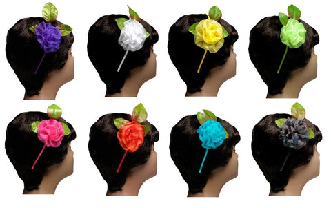 Wholesale Set of 15 Organza Flower Headbands in 5 different assorted colors