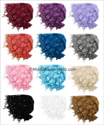 Wholesale 1 Dozen  Salma Hijab Lace Cap in 12 Colors