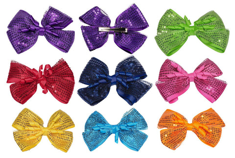 Wholesale Set of 15 Sequined Ribbon Hair Clips in 5 different colors