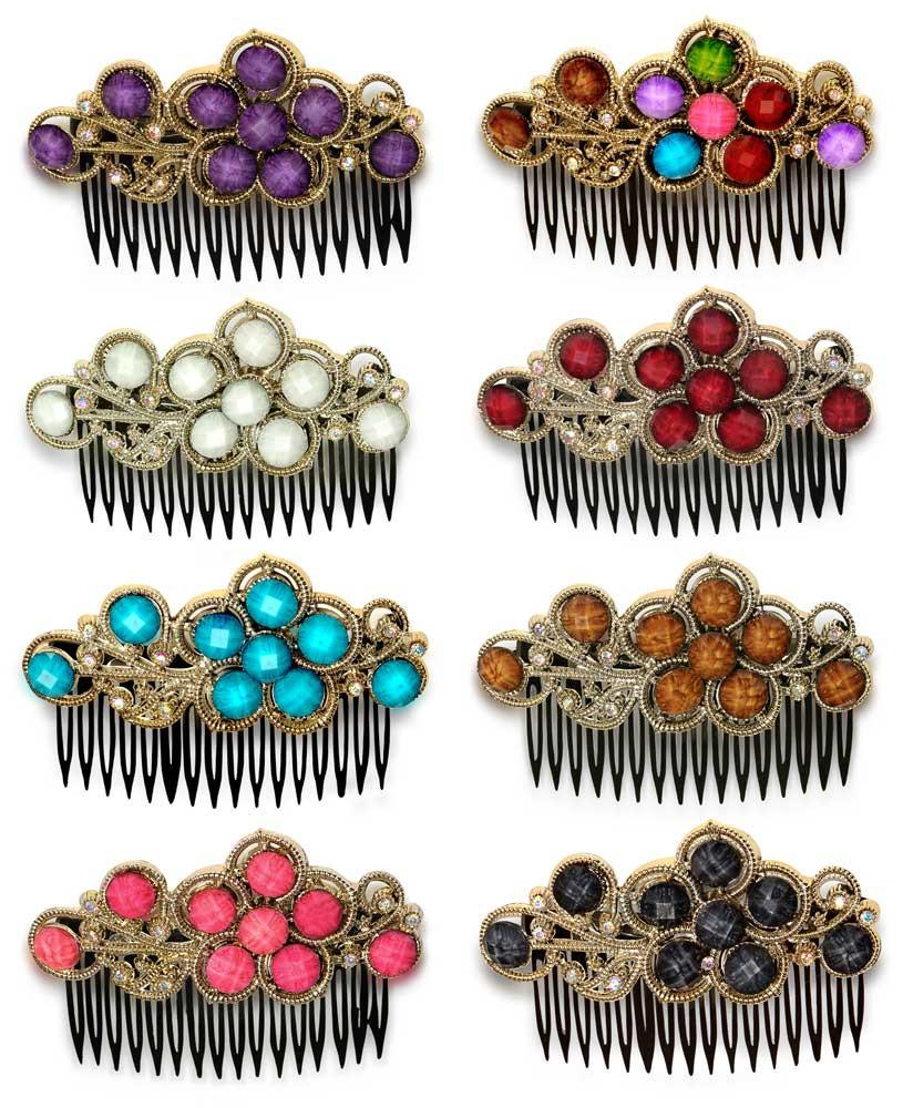 Wholesale Set of 15 Bejeweled Hair Side Comb in 5 Different Colors