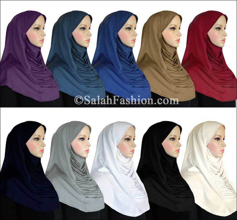 Wholesale Set of 20 Ruched Cascade Hijabs 1 piece Lycra Amira