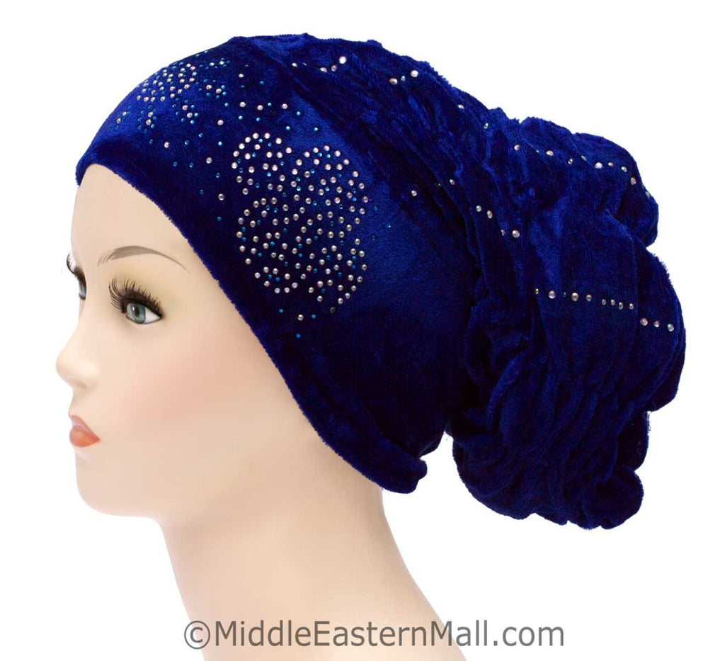 Wholesale Set of 10 Velvet Royal Snood Caps in 5 different colors Two of each color