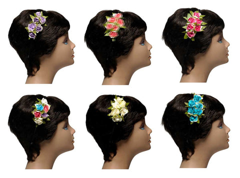Wholesale Set of 15 Vintage Rosebud Headbands in 5 different Colors