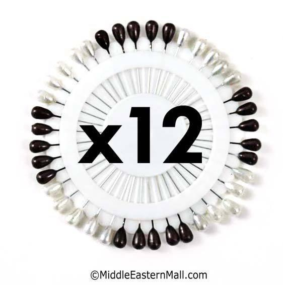 One dozen of Large Straight Hijab Pins #3 Black & White 1