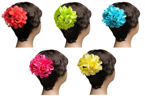 Wholesale Set of 9 Double Flower Hair Claw Volumizer in 3 different colors