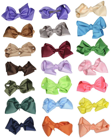 Wholesale Set of 24 Headband with Grosgrain Bow in 9 Different Colors