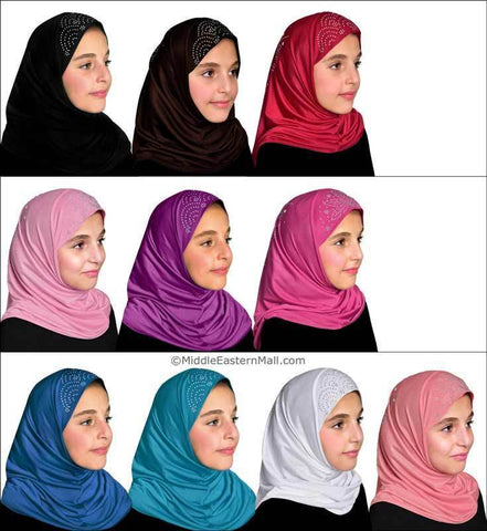 Wholesale Set of 20 Girl's Heba Hijabs in 10 Different Assorted Colors