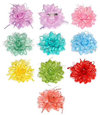 Wholesale Set of 15 Three-Ways-to-Wear Flower with Polka Dots in 5 Assorted Colors