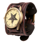 New Style Steampunk Men Leather Bracelet Cuff Wrist Watch