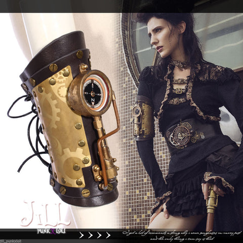 Steampunk LED mini light  compass leather arm band Sp160 C