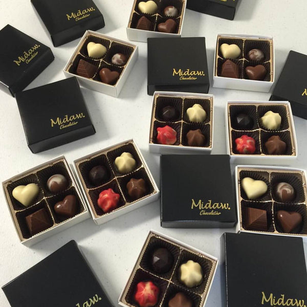 Chocolate Puerto Rico, 4pcs Midaw Chocolate Box, Chocolatier San Juan Puerto Rico, Gourmet Handcrafted Chocolate, Corporate Gits and Wedding Favors