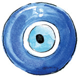 Watercolor evil eye symbol with blue and light blue